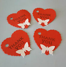 20 RED HEART SHAPED THANK YOU GIFT TAGS WITH WHITE BUTTERFLY