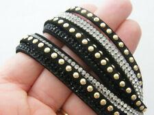 suede rhinestone bangle bracelet Nb17 1 Black and gold tone