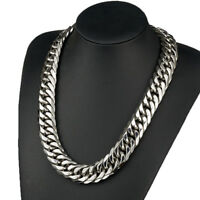 19mm Silver Polished Chain Stainless Steel Heavy Wide Link Curb Cuban Necklace