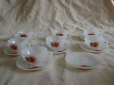 """lot de 7 tasses à café et 8 s/ tasses motif anémones """" ARCOPAL"""""""