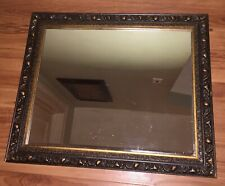 "Large 24"" X 20"" Wall Mirror Vintage Cast Brass Gold Gilt Look Ornate"