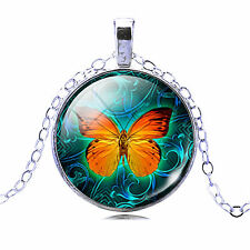 Vintage Fashion Jewellery Women's Orange Butterfly Glass Cabochon Necklace Chain