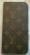 Authentic LOUIS VUITTON Cell Phone Case iPhone Monogram Leather Brown BLUE