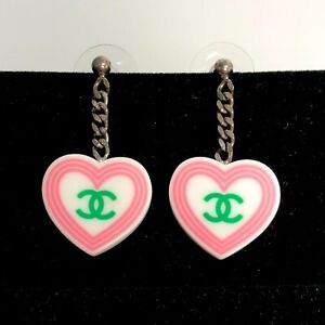 Auth CHANEL CC Logos Pink and White Plastic Earrings Imported From Japan