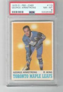 1970 OPC O-Pee-Chee PSA 8  # 113 George Armstrong Toronto Maple Leafs
