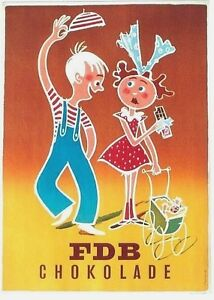 Original vintage poster CHOCOLATE DANISH BOY & GIRL c1955