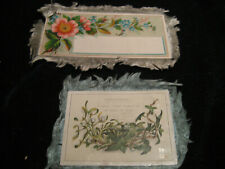 2 Antique Victorian Silk Fringe Christmas Cards / Floral ONE BLANK