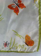 Vera Neumann Scarf Butterflies 14 x 43 White Garden Orange Pink Butterfly Spring