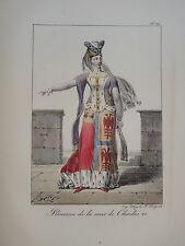 LITHO COULEUR PORTRAIT COSTUME FEMME PRINCESSE MODE CHARLES VI MOYEN AGE 1820