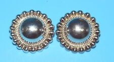 TAXCO MEXICO Sterling SILVER BUTTON BALL BEAD Clip-On EARRINGS