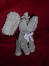 Doudou Peluche Disney Nicotoy Eléphant Dumbo Gris Noeud Vichy