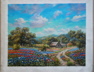 Texas Bluebonnets Landscapes Hand Painted Oil Painting on canvas 16x20 inch