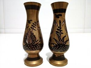 2x Vintage Handmade Style Metal Flower Vase Home Decoration