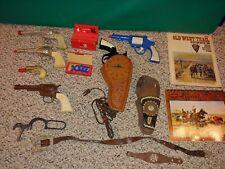 Vintage Cowboy Western Toys,Cap Guns,Pistol Clock,Leather Belt,Holster,Caps