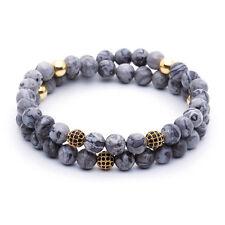 Men 6MM 18kt Gold Plated Diamond Balls Grey Jasper Stone Beaded Bracelet 2 Warp