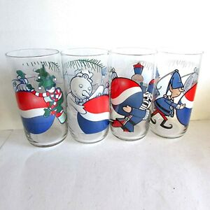 "Vintage 4 Pepsi Cola Christmas Glasses 6"" Libby Snowman Nutcracker Elves FREE SH"