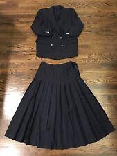 Vintage Womens Navy Blue BURBERRY SKIRT SUIT blazer jacket pleated