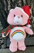 Care bears Christmas Cheer Bear Rainbow 2003 Plush 8 inch pink New