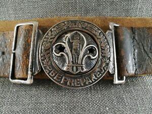 Vintage British Boy Scouts Leather Belt & Buckle complete original 1950's