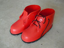 """Pari of Large Red Doll Rain Boots or Shoes 6 7/8"""" Long"""