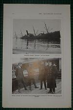 1916 WWI WW1 PRINT ~  BRITISH TRANSPORT NORSEMAN SUNK ~ ROBECK COMMODORE KEYES