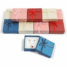 Jewelry Gift Box Set with Lids, Ribbon Bows (4 Colors, 3.5 x 1 in, 12 Pack)