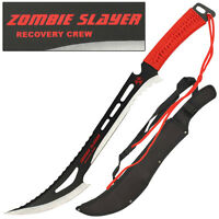Renegade Apocalypse Zombie Killer Steel Sawback Machete Sword Knife Red