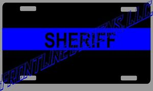 SHERIFF BLUE LINE LICENSE PLATE, REFLECTIVE