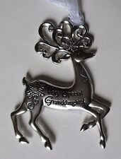 wd Very Special Granddaughter Merry Reindeer Christmas Ornament Ganz crystal