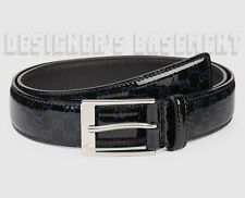 GUCCI black patent 42-105 blue GUCCISSIMA Leather LOGO buckle Belt NWT Authentic