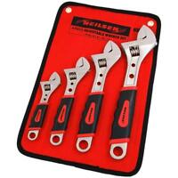 4 Piece Adjustable Wrench Spanner Set with Hex Sockets