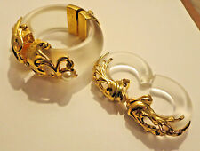 1980's INNA CITRINE  LUCITE EARINGS AND BANGLE SET Signed