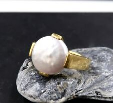 GORGEOUS SOLID 22K GOLD IRIDESCENT WHITE FRESHWATER COIN PEARL RING 7.25 EXOTIC