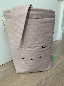 New Fabelab Large Bunny Storage Bag Mauve Rose Kids Scandinavian laundry 60x40cm
