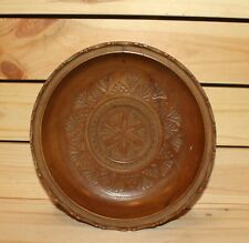 Vintage hand made floral carved wood bowl