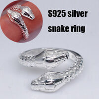 Unisex Adjustable Fashion Snake Shape Open Finger Rings Jewelry Accessories