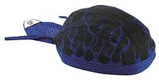 Royal Blue Black Flames Vented Sweatband Durag Head Wrap Biker Cap Bandanna Mesh