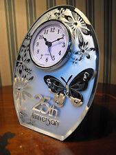 25TH WEDDING ANNIVERSARY GIFT SILVER WEDDING CLOCK GIFT # SILVER WEDDING PRESENT
