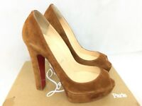Christian Louboutin Bambou 140 Veau Velours Peep Toe Heels - Brown - 37/UK 4 New
