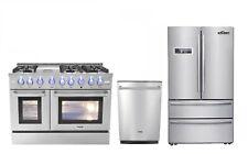 """48"""" Gas Range, 24"""" Dishwasher & 36"""" Refrigerator Thor Kitchen 3-Piece Bundle"""