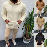 Men Winter Fluffy Hoodie Pullover Fleece Sweatshirt Hooded Coat Sweater Jump yi