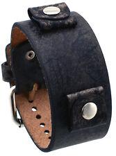Nemesis NF-BB Dark Brown Artsy Pattern Wide Leather Cuff Wrist Watch Band