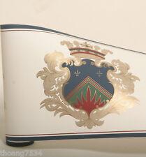 Coat of Arms Blue Shield Gold Crown Scroll Leaf  Fleur De Lis Wall paper Border