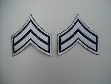 New Silver on Black Silver Outline Police Corporal Chevron Patches Style CPL003