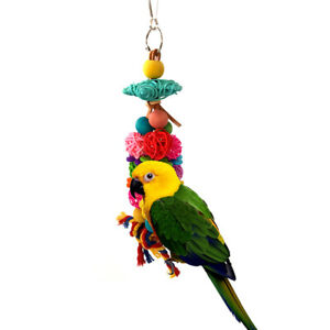 Cage Budgie Colorful Standing Rattan Swing Bird Bite Playing Pet Parrot Chew ^lk