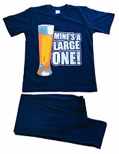 Mens PJs Mine's a Large One Novelty Beer Long Pyjamas Large to 6xl Blue 2xl