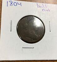 1804 HALF CENT date visible plain 4  no stems