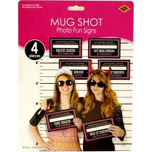 Photo Booth Props Mug Shots Wedding Hens Night Bachelorette Party Funny Signs
