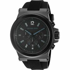 Michael Kors MK8152 Mens Black Dial Chronograph Quartz Watch with Rubber Strap
