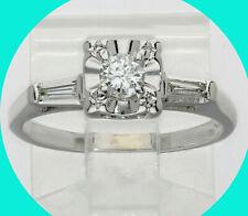 .35CT! H Diamond engagement ring 14K white gold round brill VVS baguettes Sz6.25